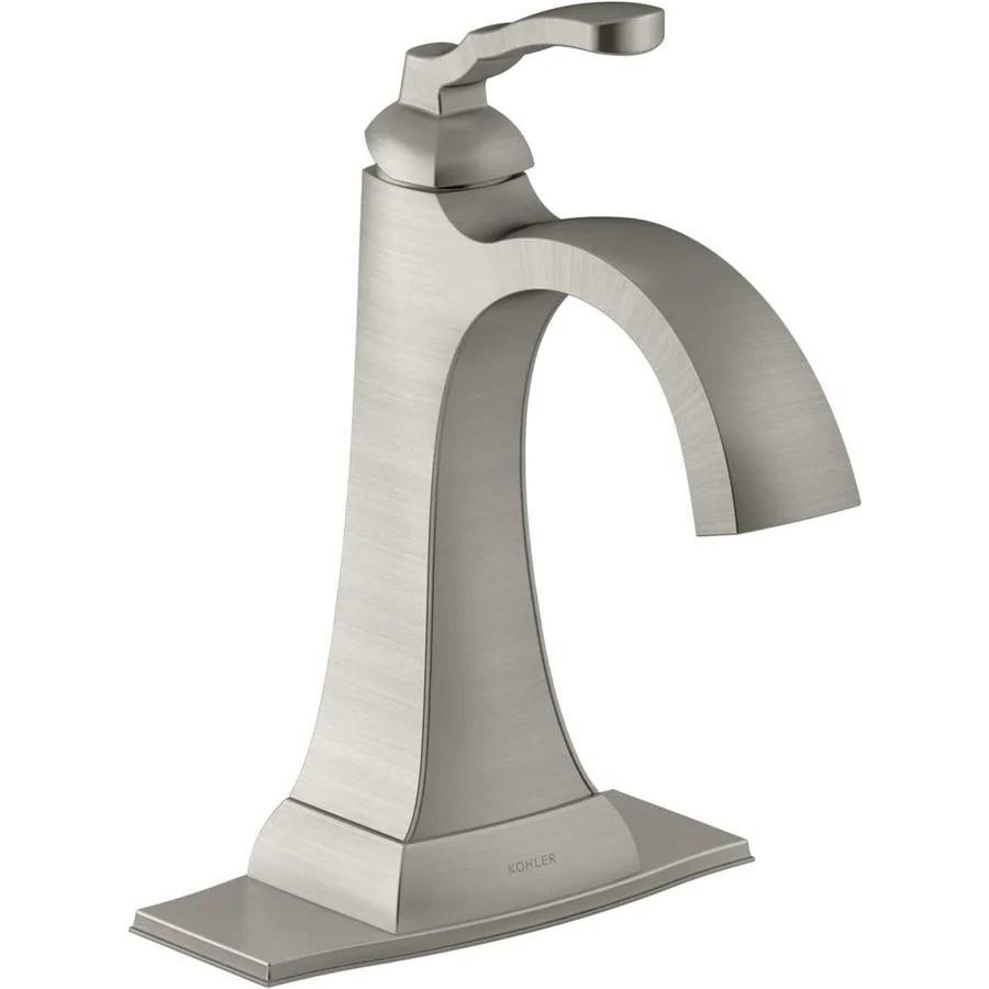 kohler ridgeport brushed nickel 1 handle 4 in centerset watersense bathroom sink faucet with drain and deck plate