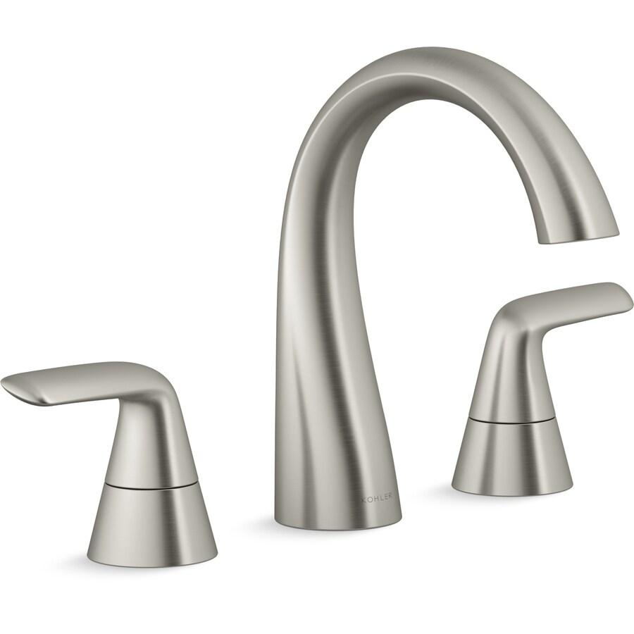 kohler avail vibrant brushed nickel 2 handle widespread watersense bathroom sink faucet with drain