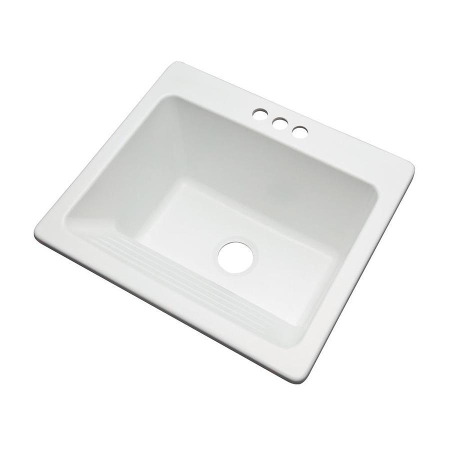 dekor 22 in x 25 in 1 basin white self rimming laundry sink