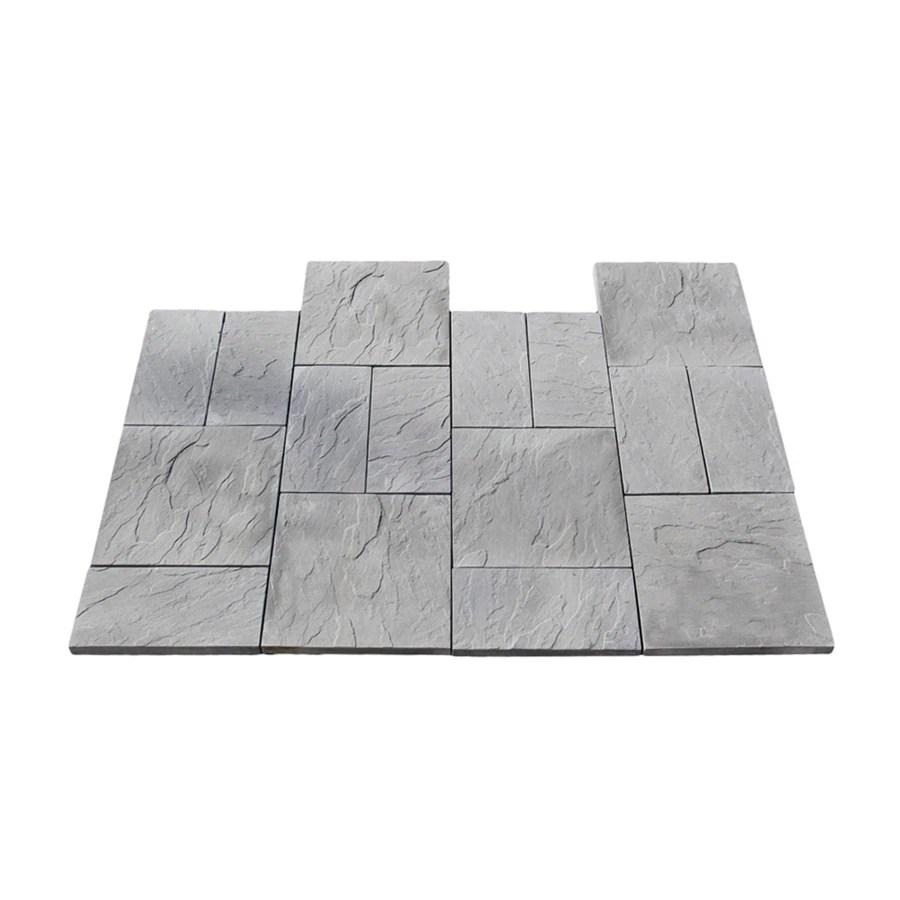 nantucket pavers 12 ft x 12 ft gray kingsmill rivenstone paver patio block project kit lowes com