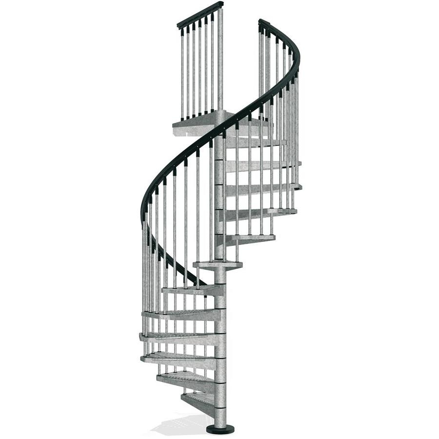 Arke Enduro 63 In X 10 Ft Gray Spiral Staircase Kit In The | Installing A Spiral Staircase | Bottom | Rectangular | Alcove | 20 Step | Circular