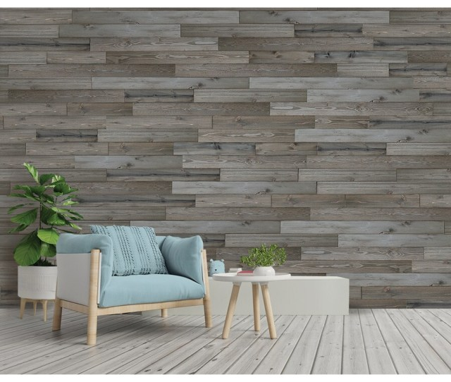 Design Innovations Reclaimed Shiplap   Sq Ft Weathered Grey Wood Wall Plank Kit