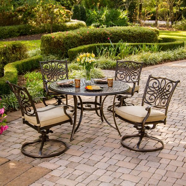 Shop Hanover Outdoor Furniture Traditions 5 Piece Bronze Metal Frame     Hanover Outdoor Furniture Traditions 5 Piece Bronze Metal Frame Patio  Dining Set with Natural Oat