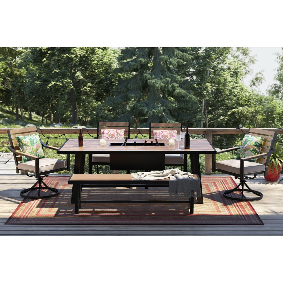 allen roth fairway oaks 6 piece patio dining set with bench