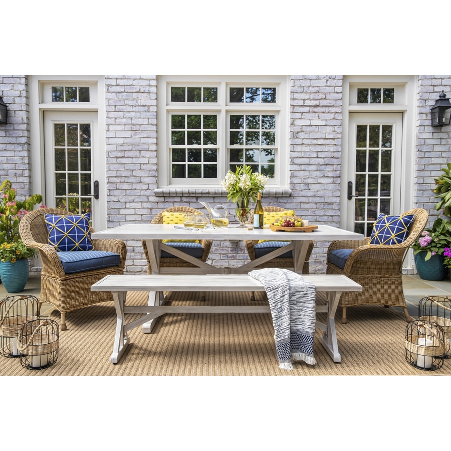 https www lowes com collections allen roth serena park 6 piece patio dining set with bench gr 805