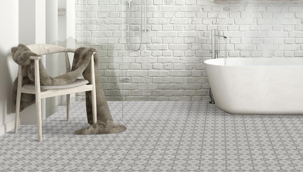 Della Torre Avalon Gray 8 In X 8 In Glazed Porcelain Encaustic Floor And Wall Tile In The Tile Department At Lowes Com