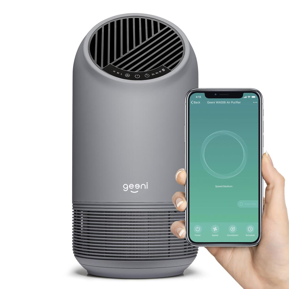 Geeni Geeni Breathe Xl 3 Speed Covers 200 Sq Ft True Hepa Smart Gray Air Purifier In The Air Purifiers Department At Lowes Com