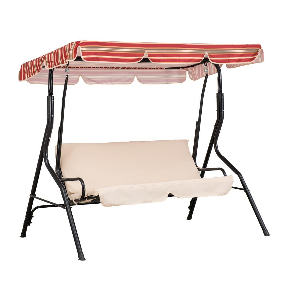sunjoy red striped porch swing canopy