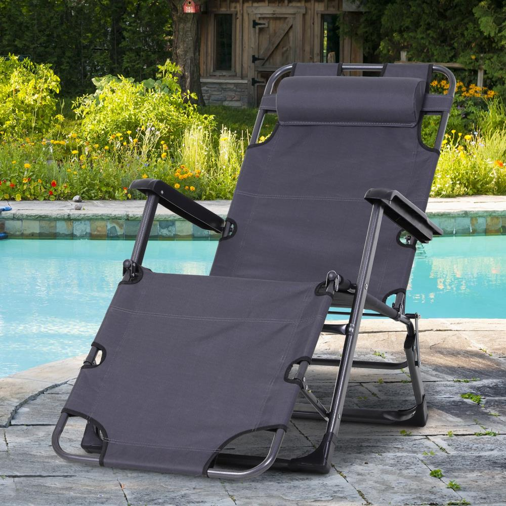 https www lowes com pd outsunny outsunny outdoor folding reclining lounge chairs beach patio oxford fabric 120 180 w head pillow grey 5001960285
