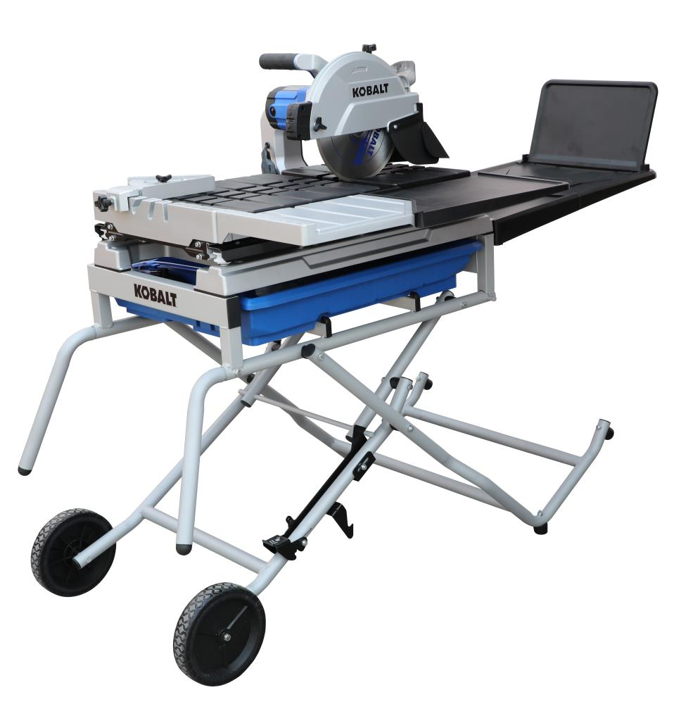 You no longer have to worry about an incomplete job because of a lack of tools. Kobalt 10 In 15 Amp Wet Sliding Table Tile Saw With Stand In The Tile Saws Department At Lowes Com