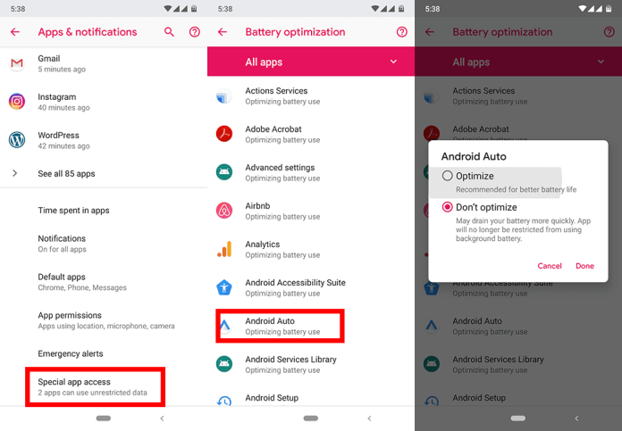Solve Android Auto crashes by disabling battery optimization