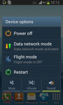 Samsung Galaxy Grand Quatrro power options