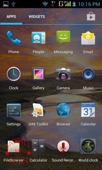 Stock android menu