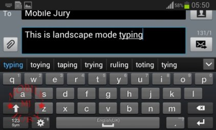 Typing in landscape mode_Samsung Galaxy Star Pro