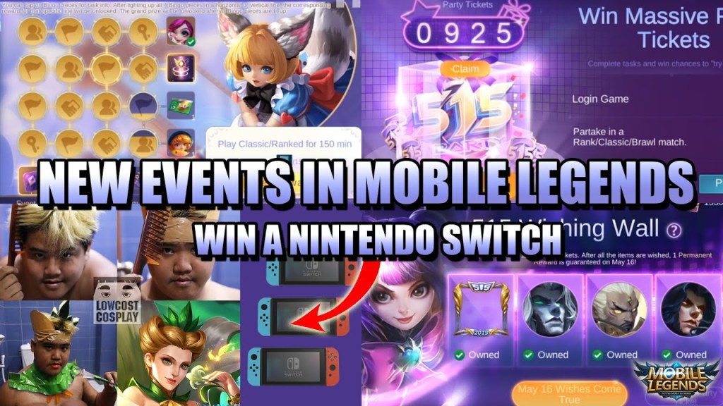 FREE SKINS AND NINTENDO SWITCH - NEW EVENTS IN MOBILE LEGENDS:BANG BANG
