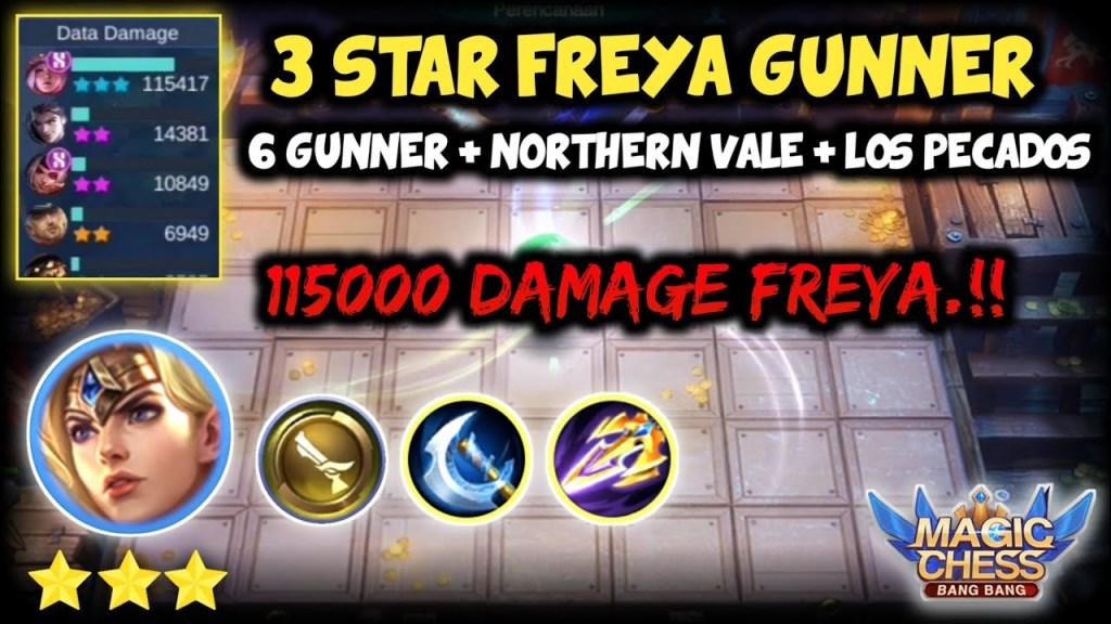 3 STAR FREYA GUNNER. 115000 DAMAGE FREYA.!! MAGIC CHESS MOBILE LEGENDS BANG BANG