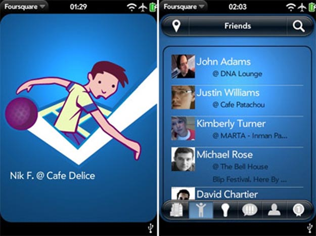 foursquare  Palm Pre Gets Stalked Too with New Foursquare App