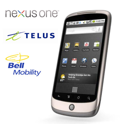nexus-one-belltelus Google Nexus One now official for Telus and Bell