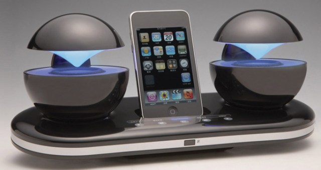 alienphdock Speakal iCrystal's UFO orb docking station for the iPhone 4