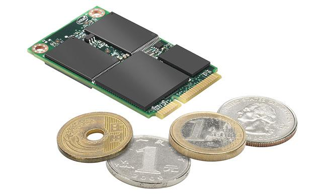 Intel_SSD_310_coins New Intel 310 series SSDs measure 1/8th size of current drives