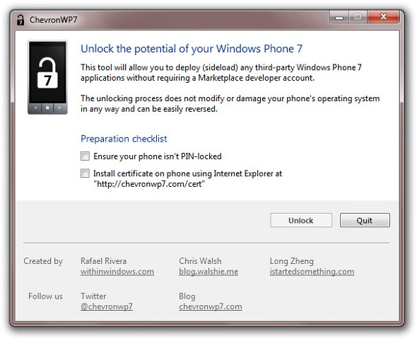 ChevronWP7 ChevronWP7 prevents Windows Phone 7 from re-locking after Zune sync