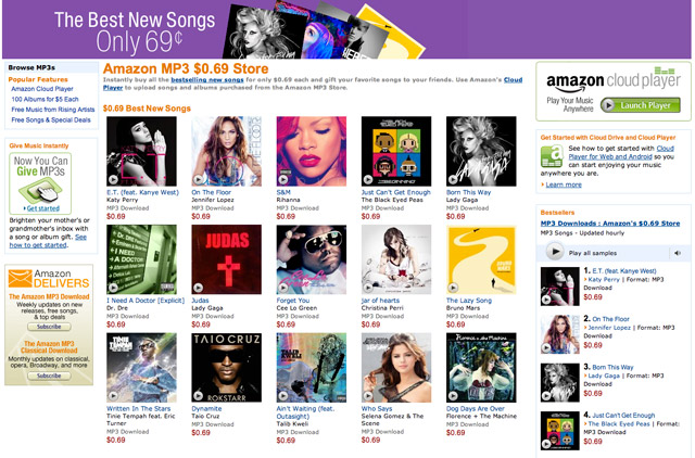 amazon69 Amazon Undercuts iTunes with 69 Cent Music Store