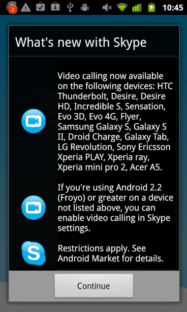Android-Skype 17 more Android devices get loaded with Skype 2.1