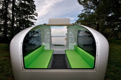 sealander-inside   Versatile Sealander camping trailer is also a boat and a tent