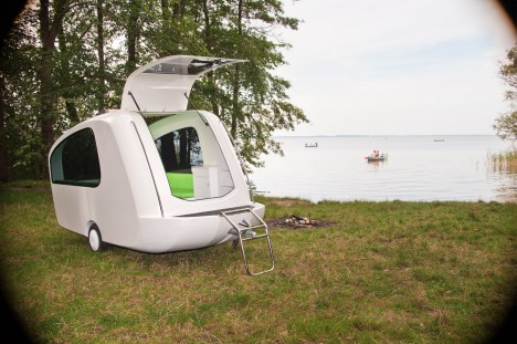 sealander-parked   Versatile Sealander camping trailer is also a boat and a tent