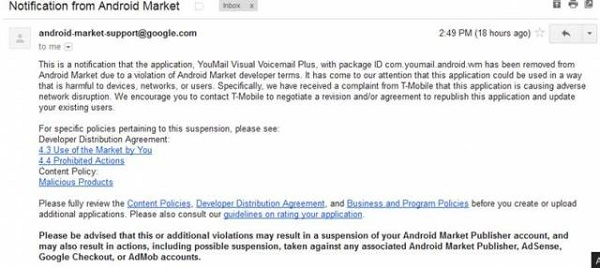 YouMail-Removed YouMail App Removed From Android Market By T-Mobile Request