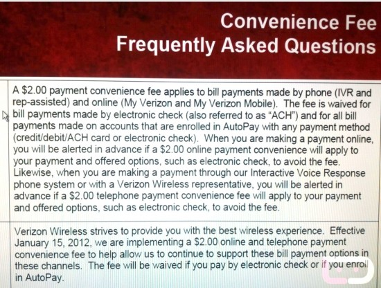 "conveniencefeee Verizon's $2 ""Convenience Fees"" Coming January 15, 2012"