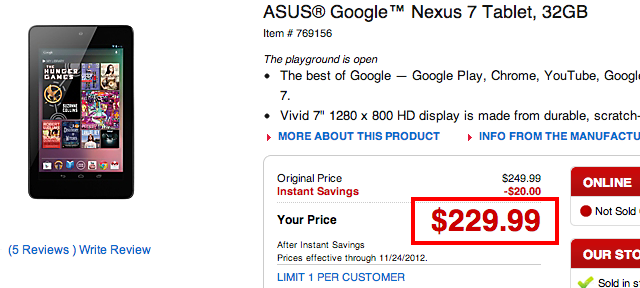 nexus7 Black Friday Alert - Google Nexus 7 32GB is only $229 at Office Depot