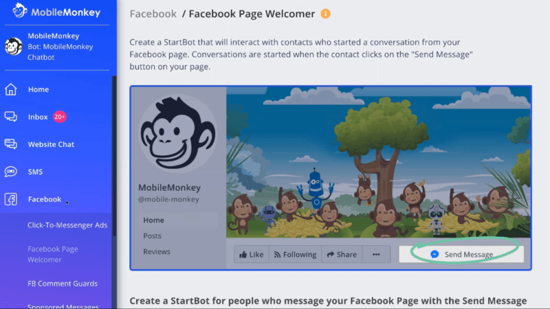 The Facebook Page Welcomer section inside Mobile Monkey