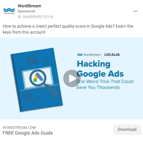 An ad for WordStream's downloadable guide.