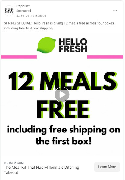 A HelloFresh ad for 12 free meals.