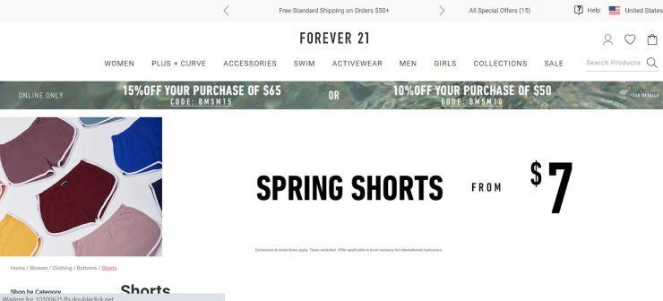 Forever 21 desktop landing page