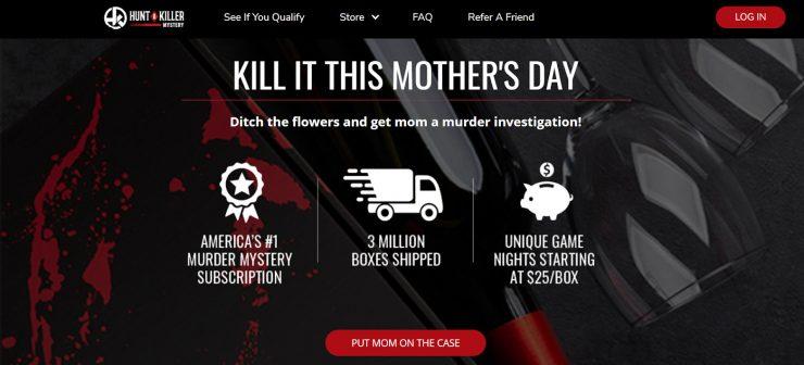The Hunt-A-Killer desktop landing page