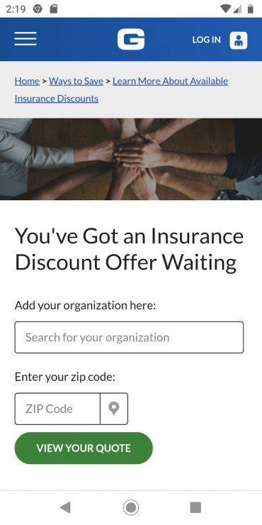 GEICO membership mobile landing page.