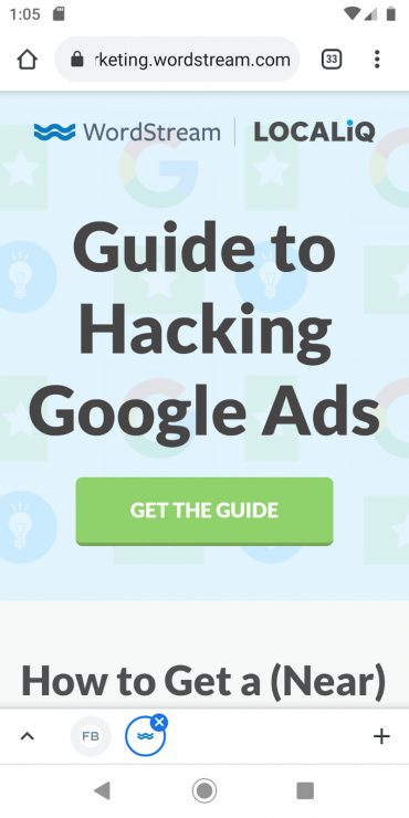 The mobile landing page for WordStream's guide.