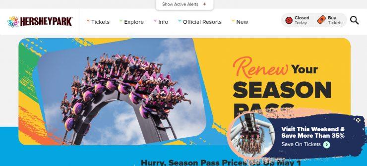 Hersheypark season pass landing page for desktop.