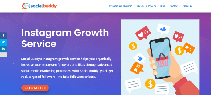 SocialBuddy homepage screenshot