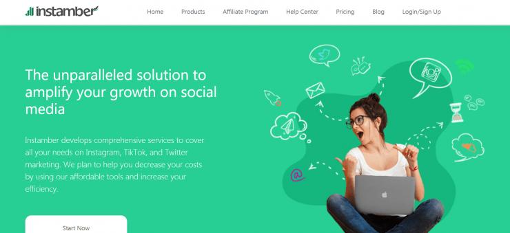 Instamber homepage screenshot