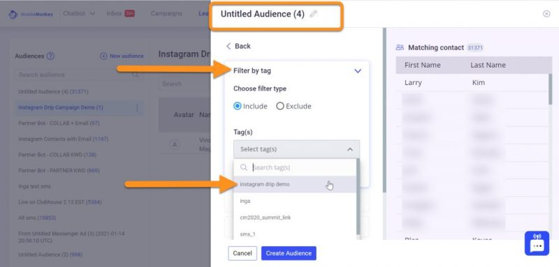 Instagram direct message marketing audience