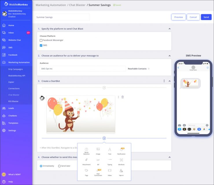MobileMonkey SMS blaster visual campaign builder