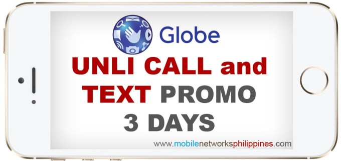 GOUNLI80 Globe Unli Call and Text 3 Days Promo