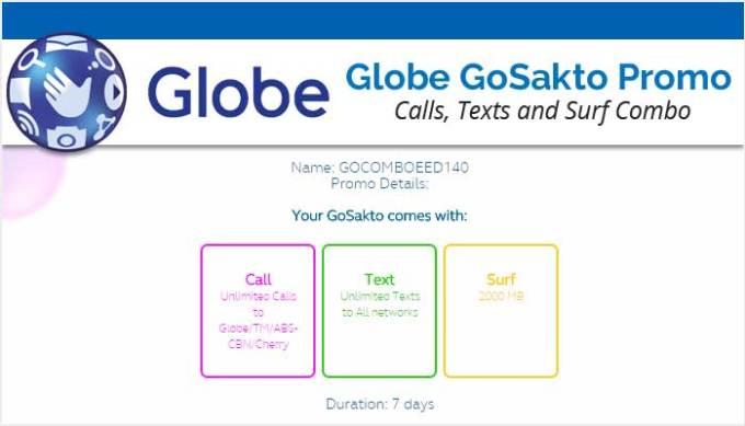 Globe GoSakto Promo