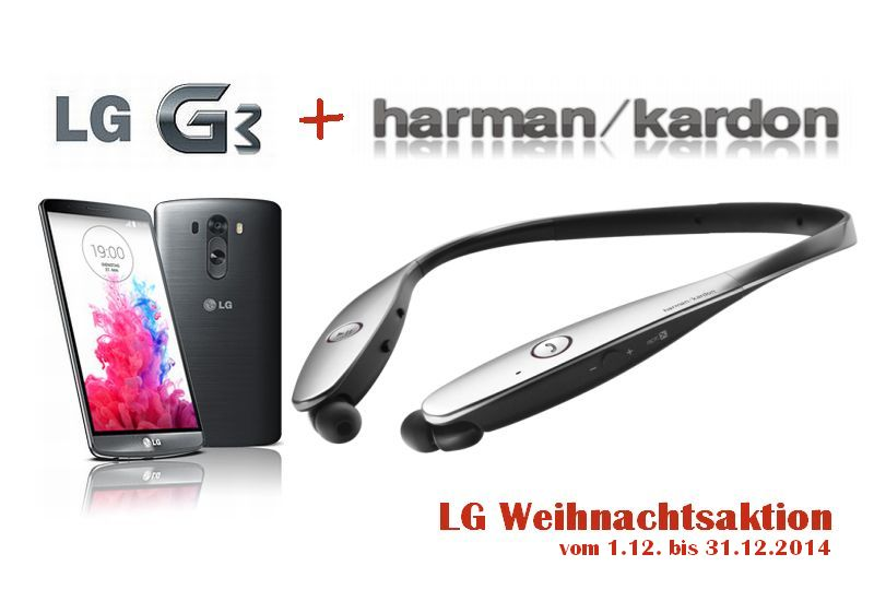 lg weihnachtsaktion g3 inkl harman kardon bluetooth headset mobilenote. Black Bedroom Furniture Sets. Home Design Ideas