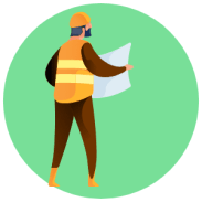construction worker with blueprints icon