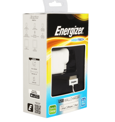 Energizer 2.1 Amp Mains Charger For Micro Usb, Lighting Or 30 Pin Connector