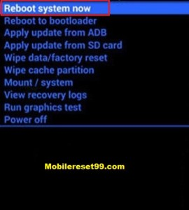 Hard Reset - Reboot system now option